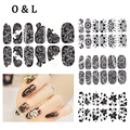 1pcs New Black Lace Nail Stickers 3d Rhinestone Full Cover Adhesive Art Foil Polish Decals Nail