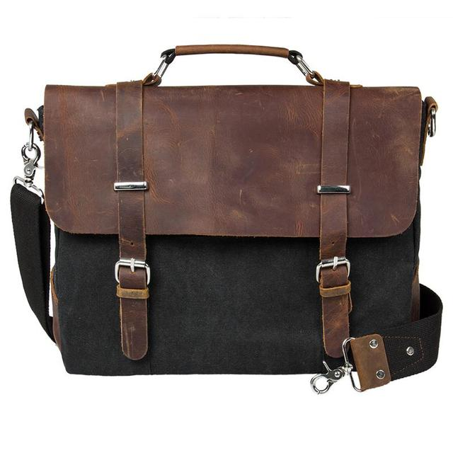 Старинные мужчины пу кожаный портфель мода сумка школа военная вестник мешки свободного ...