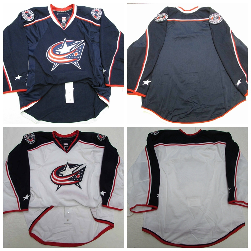 Custom Columbus Blue Jackets goalie cut Jerseys hockey goal keeper jerseys Home Blue Away White/Black Sew on Any Name & NO. 60G(China (Mainland))