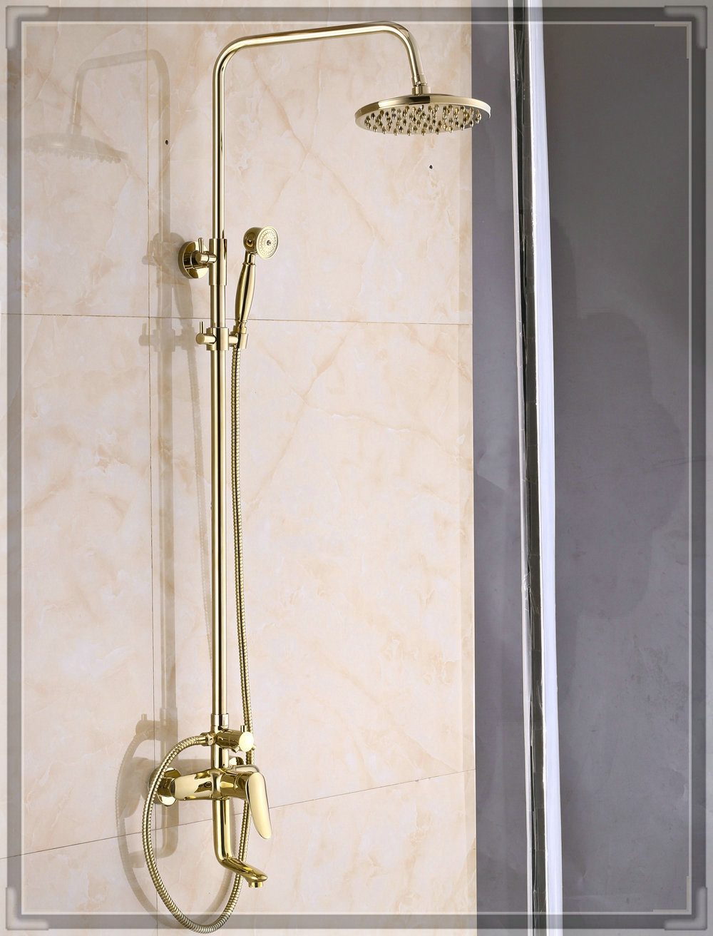Rainfall gold brass shower faucet set 8 inch shower head handheld sprayer water bathroom for Bathroom shower heads and faucets