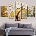 High Quality Abstract Hand Painted Golden White Birch Palette Knife Modern Oil Painting Canvas Wall Living