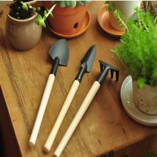 3Pcs Mini Garden Hand Tool Kit Plant Gardening Shovel Spade Rake Trowel Wood Handle Metal Head Gardener