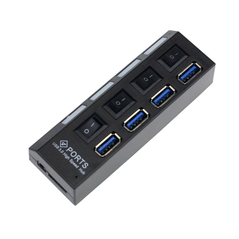 High Speed 4 Ports USB 3 0 HUB With On Off Switch Power Adapter USB Hub