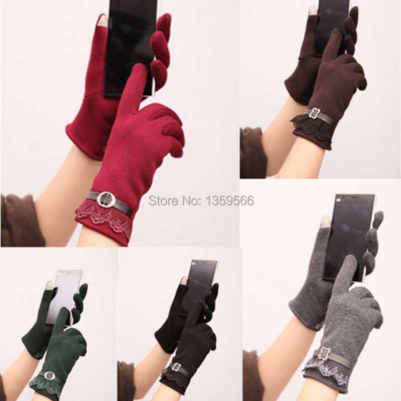 Free Shipping Fashion Design Cotton Women Touch Screen Lace Gloves Cute Lady Gloves 5 Color qf9