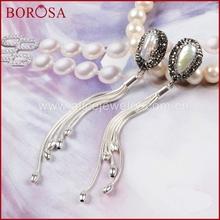 Buy BOROSA Pearl Women Drop Earrings Hot sale Pearl Black Gun Zircon Dangle Earrings Silver Color Tassels Druzy Earrings J05 for $45.50 in AliExpress store