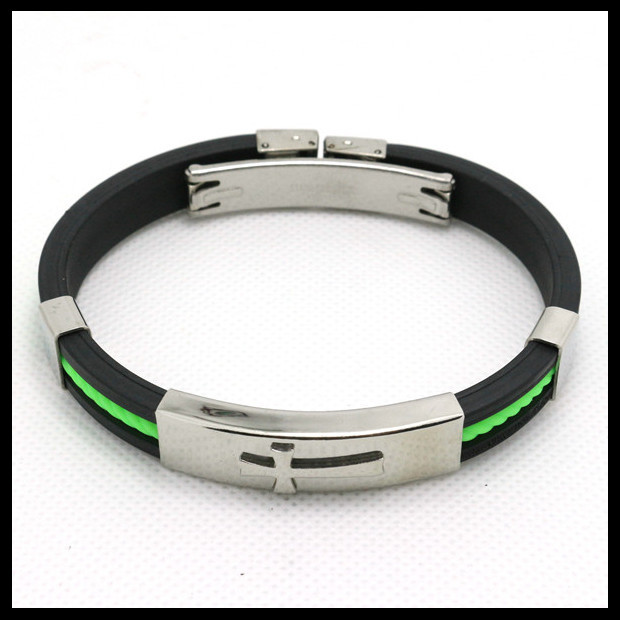 Top Quality Popular Jesus Cross Silicone Rubber Silver Bracelet Stainless Steel Cross Green Hot Cool Wholesale Fashion Bracelet(China (Mainland))