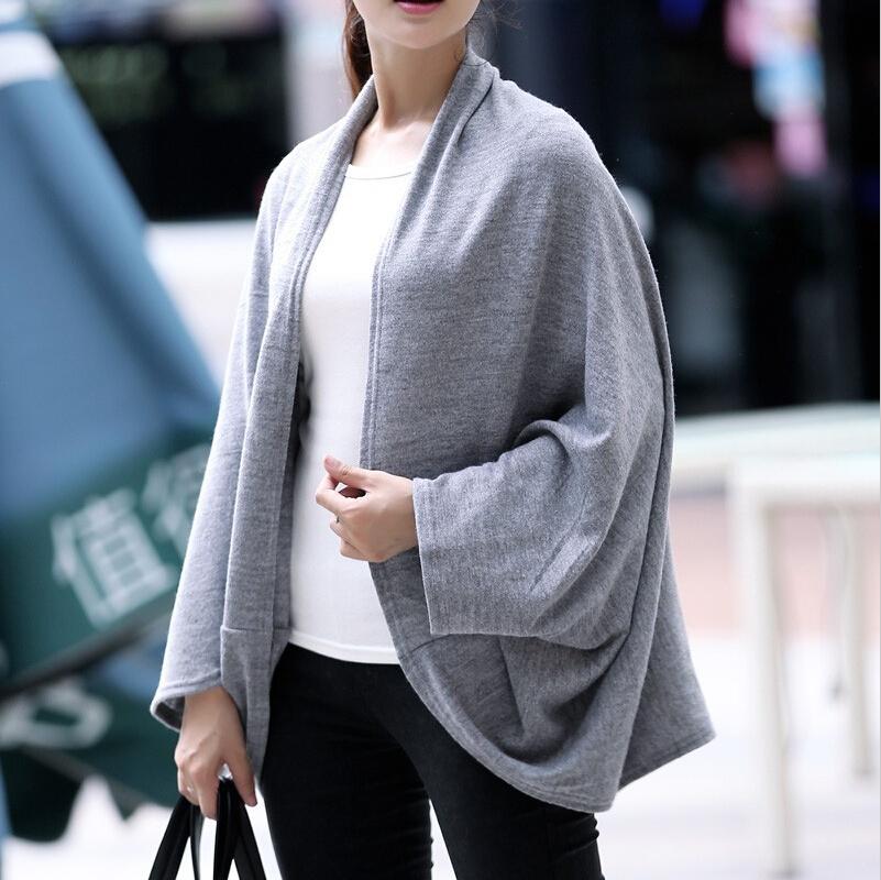 2015 NEW autumn winter sweaters casual women fashion cardigan bat sleeve long knitted sweater femininas knitting coat plus size(China (Mainland))