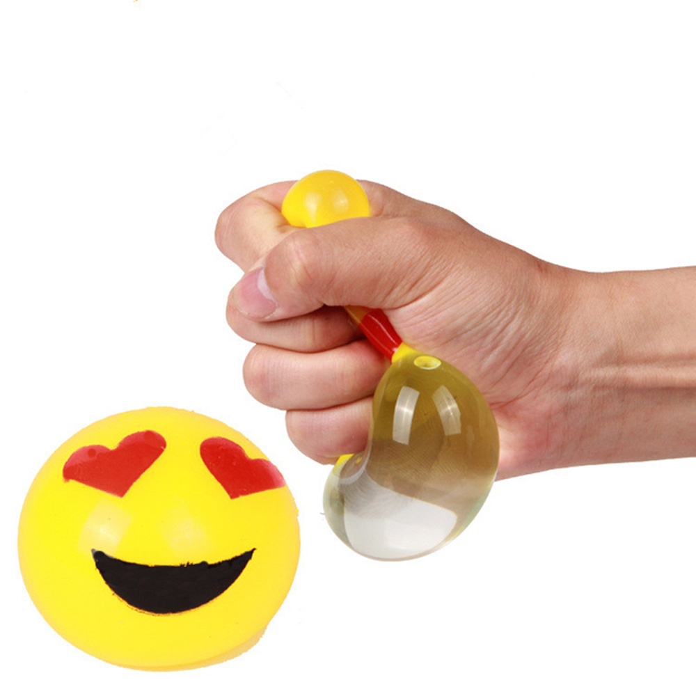 Funny Elastic Squeeze Stress Ball Novetly Smile Face Print Squeeze Ball Hand Wrist Exercise Stress Ball PU Rubber Toy Balls(China (Mainland))