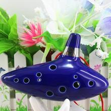 Blue 12 Holes Ocarina Kiln-fired Ceramic Alto C Legend of Zelda Zelda Ocarina Flute of Time Toy Free Shipping(China (Mainland))