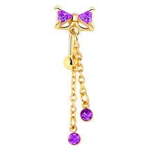 סקסי נשים זהב טבור פירסינג טבור גוף תכשיטי קריסטל זירקון Rhinestones עגול גוף טבעת תכשיטים(China)