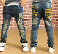 Hurave 2015 Retail new spring Boys jeans pants letter words pocket children solid trousers Kids jeans