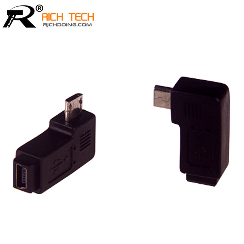 Elbow connector 90 Degree Micro USB male to USB mini 5pin female jack adapter RICH TECH connector wholesale market(China (Mainland))