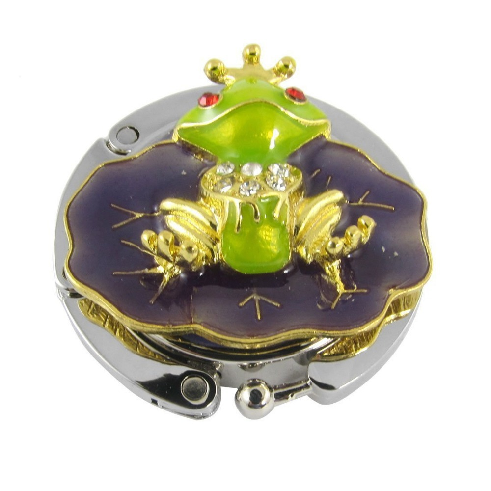 Purple Green Cute Frog Folding Handbag Hook Holder for Lady E7005-purplegreen(China (Mainland))