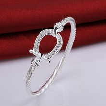 925 stamped silver plated Filled Horse Shoe Bangle water drop Bracelet fashion jewelry Women Love Valentine's Day Gift(China (Mainland))