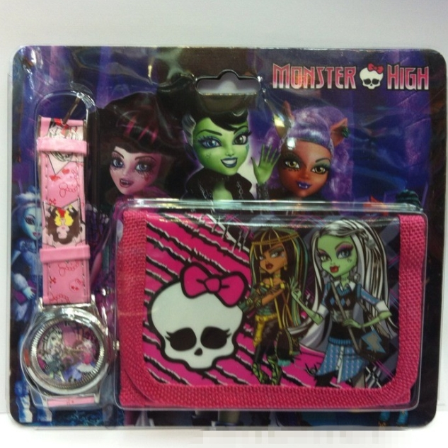 New Fashion Monster High cartoon girl's watches wallet for kids and cute children purse wristwatches Christmas Gift(China (Mainland))