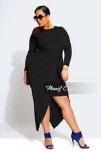 Vestido Sale Dress 2016 Plus Size New Women's Spring Casual Sexy Lady Clothing Long Sleeve Big Women Deep O-neck Fat Clothes(China (Mainland))