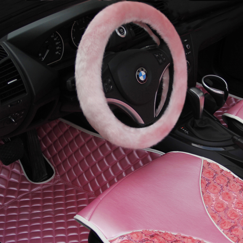 New arrival plush steering wheel car accessories winter general pink plush women's slams