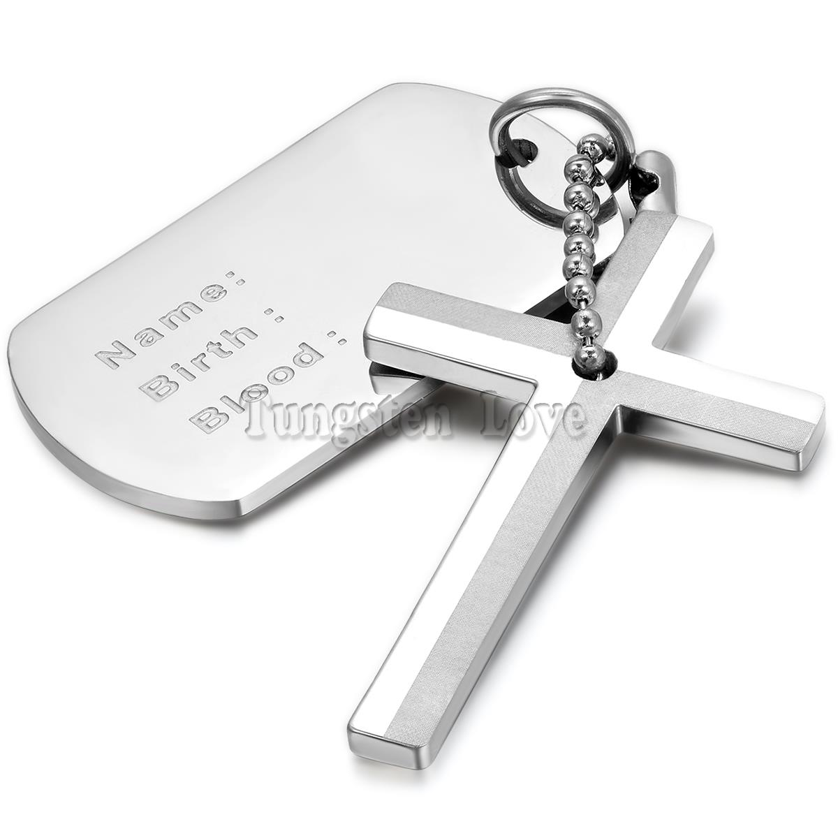 New Stainless Steel Necklaces Men Dog Tag with Cross Pendant Necklace 22 inches Silver Fashion collar masculino(China (Mainland))