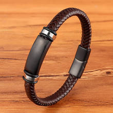XQNI New Luxury Stainless Steel Accessories Genuine Leather Combination 3 Colors Men Bracelets Woven Bracelet For Men Birthday(China)