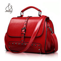 Fashion European And American Style Oil Wax Skin Cowhide Women Solid Rivet Shoulder Bag Crossbody Leather