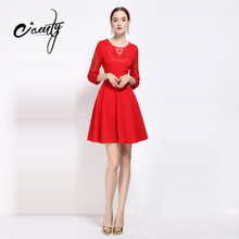 Buy CAMTY Hot Sale Elegant Dresses 2017 New Spring Autumn Embroidery Dress Elegant Women Clothing Plus Size Slim Ladies Party Dress for $40.52 in AliExpress store