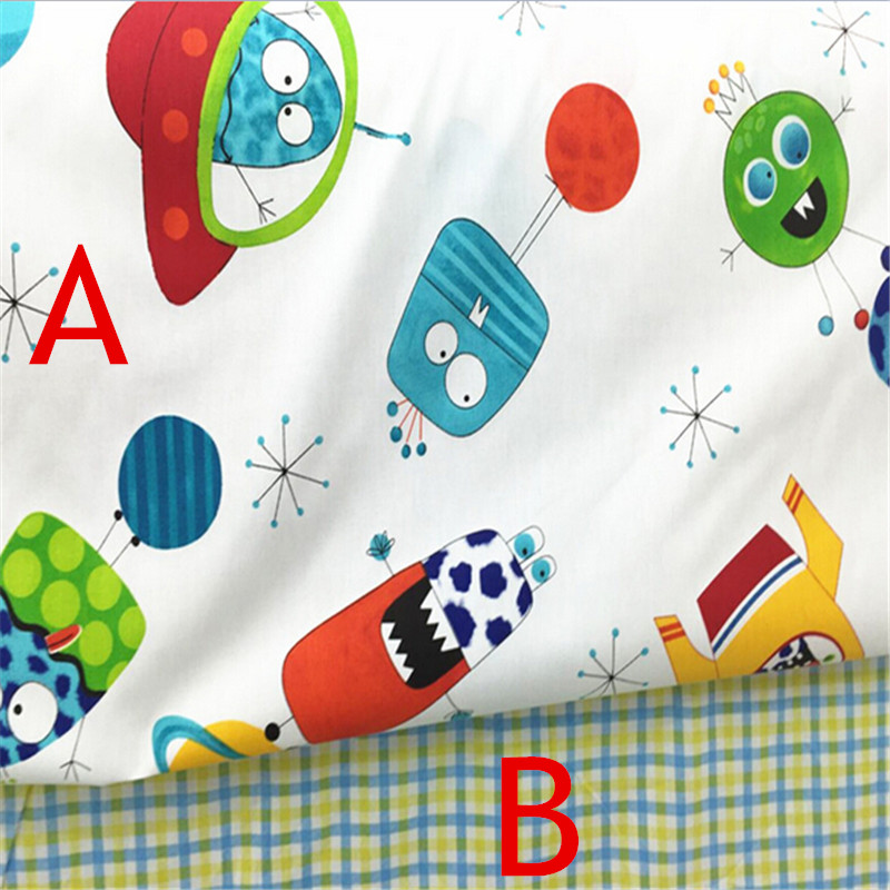 1meter New Cartoon Universe Cotton Fabric Checks Cloth Patchwork for Quilt Tissue Baby Bedding Sheet Tilda(China (Mainland))