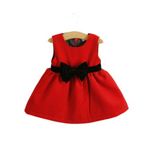 2014 spring autumn winter new baby girls christmas red dresses toddler girl birthday party dresses baby infant clothing vestidos(China (Mainland))