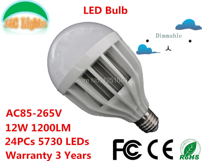 Free Shipping!E27 Dimmable 12W LED Bulbs,AC110V/220V 1200LM indoor lighting home lighting,Wram white/White/Cool White,4PCs a lot<br><br>Aliexpress
