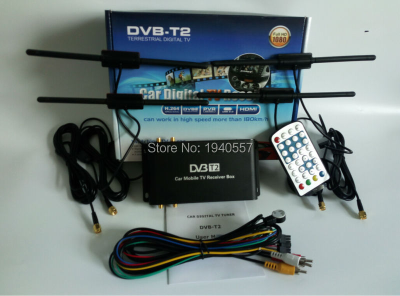 180km/h DVB-T2 Car digital tv tuner receiver box car dvb t2 USB HDMI 4 antenna for Russia Kenya Colombia Thailand Singapore(China (Mainland))