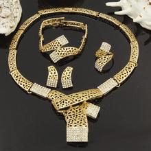 2017 new Fashion Dubai gold plated jewelry sets Italian retro scarf style necklace design Bridal Wedding Crystal jewellery(China (Mainland))