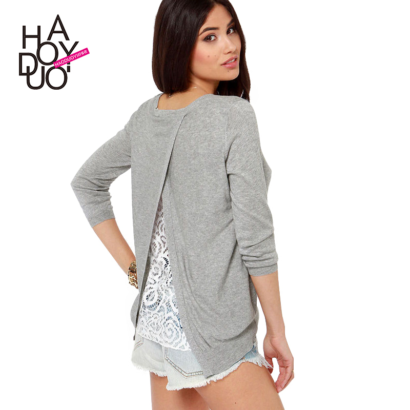 Gray color O-neck long-sleeve knitted pullover women Back lace lining patchwork pullovers women's casual clothing J037 - Ochanal Plus Size Women Clothing store