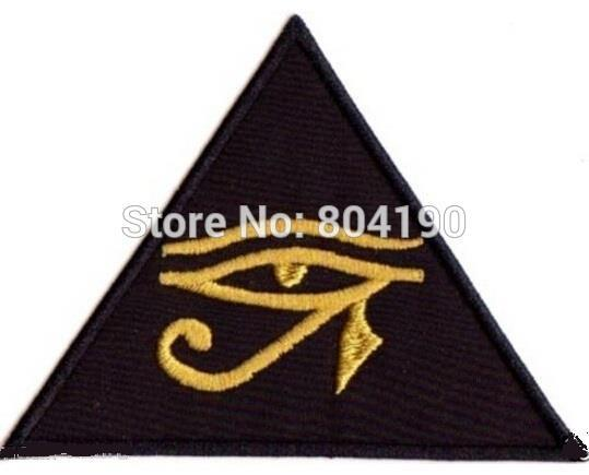 """4"""" EYE OF HORUS UDJAT KNOWLEDGE OCCULTISM UTCHAT RA Music Band EMBROIDERED IRON On Patch APPLIQUE Rock Punk Badge(China (Mainland))"""