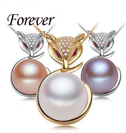 Forever 925 Sterling Silver Fox Pendants necklace with 10-11 mm Button Freshwater Pearls Jewelry for Women Gold Silver Pendant(China (Mainland))