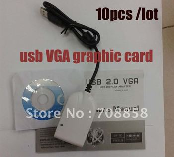 USB VGA Graphic Card connect LCD monitor, projector / Wireless PC To TV Converter, 10pcs/lot  free shipping