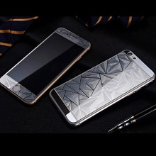 2pcs/lot Front+Back 3D Diamond Mirror Color Tempered Glass Screen Protector Film for Iphone 6S Protective with Wipe Package