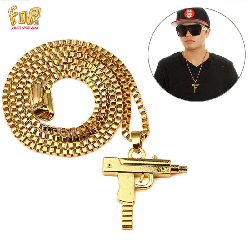 JFY Uzi Gun Necklace GOLD CHAIN For Men/Women Hip Hop NECKLACE 18k Gold Plated Submachine Gun Fashion JEWELRY Pistol Pendant(China (Mainland))
