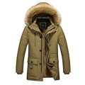 2017 autumn winter warm velvet lining material long cotton jacket men s clothing Dad Coats Jackets