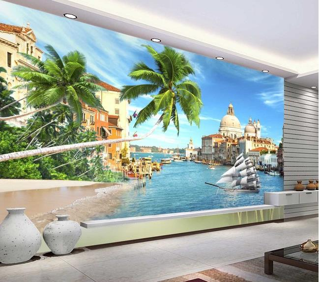 High quality HD beach landscape 3D mural papel de parede photo 3d HD KTV decoration wall room fabric(China (Mainland))
