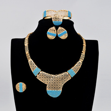 Bridal Wedding African Beads Jewelry Sets Gold Plated For Women Round Artificial Coral Fashion Necklace Earrings Bracelet Ring(China (Mainland))