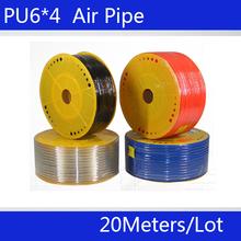 Бесплатная доставка PU Трубы 6*4 мм для воздуха и воды 20 М/лот Пневматические части пневматический шланг ID 4 мм OD 6 мм