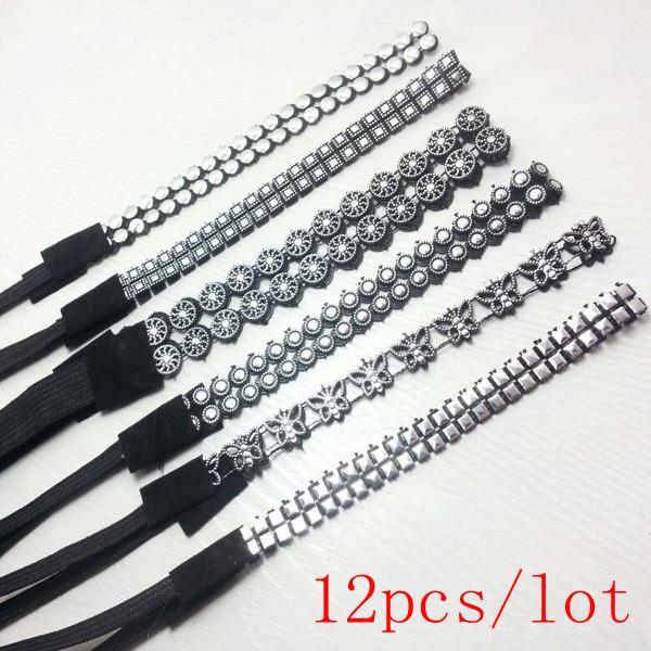 2015 new lady women's elastic headband sequins hair band fashion black color cheap hair wear hair accessories(China (Mainland))