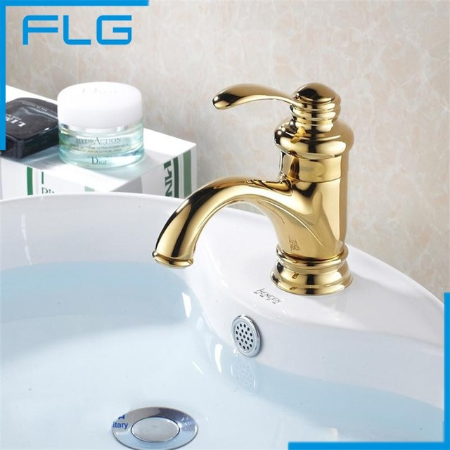 Single Lever Basin Mixer Hot And Cold Basin Faucet Handles Single-Hole Gold Faucet Bathroom Faucets Mixers & Taps