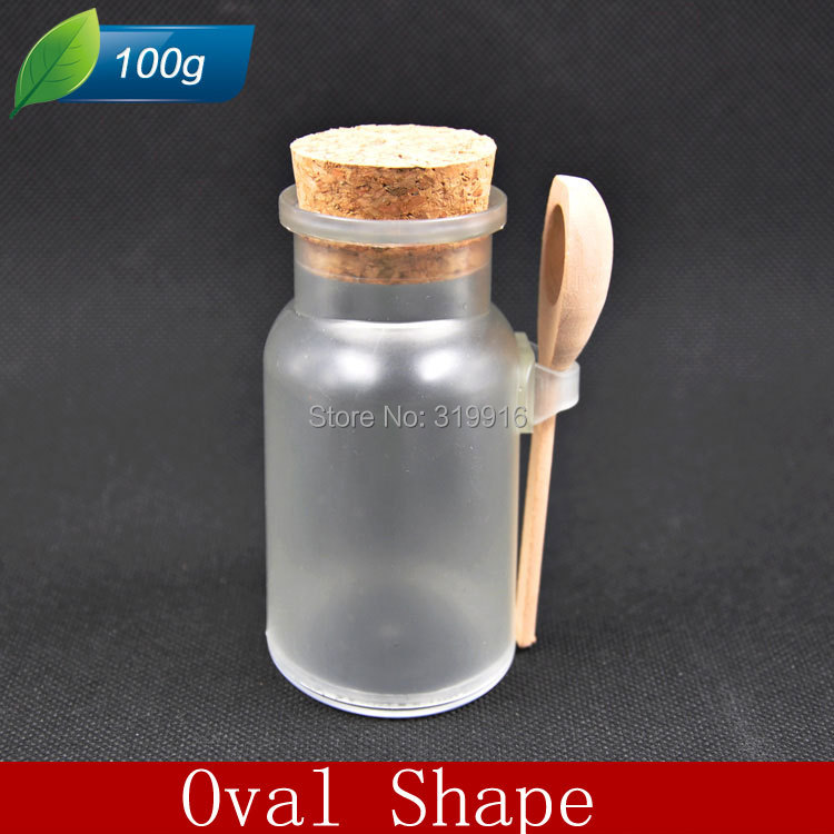 Free shipping-100g oval shap plastic bath salt container , powder empty plastic bottle with spoon and cork, 20pc/lot<br><br>Aliexpress