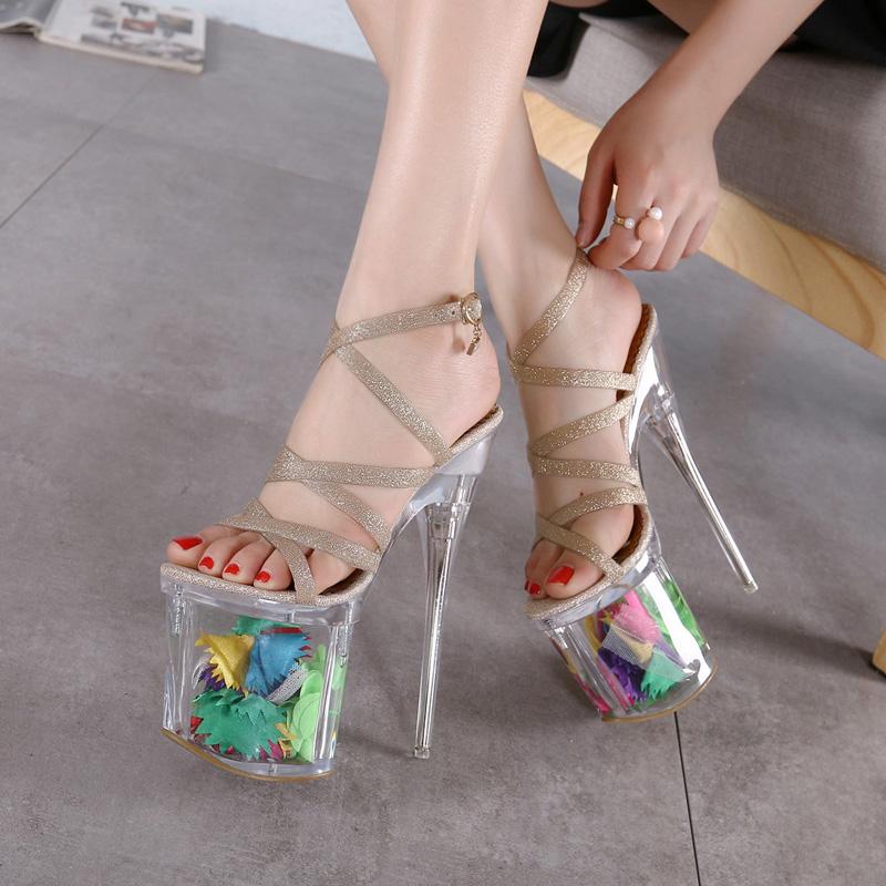 women summer fashion 19 cm Super high heels elegant crystal sandals Transparent platform shoes sexy nightclub  -  Yuzu Square store