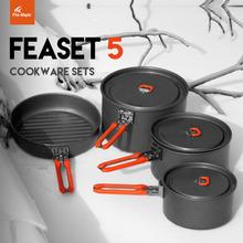 Fire Maple 4-5 Person Camping Pot kettle fry pan set Cooking Picnic Cookware Set fire maple titanium cookware 1034g feast5