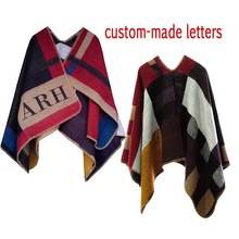 2015 Hot Brand Women Poncho Prorsum Cashmere Wool Scarf Monogramed Poncho  Cape Colour Block Check Blanket Poncho bufanda manta(China (Mainland))