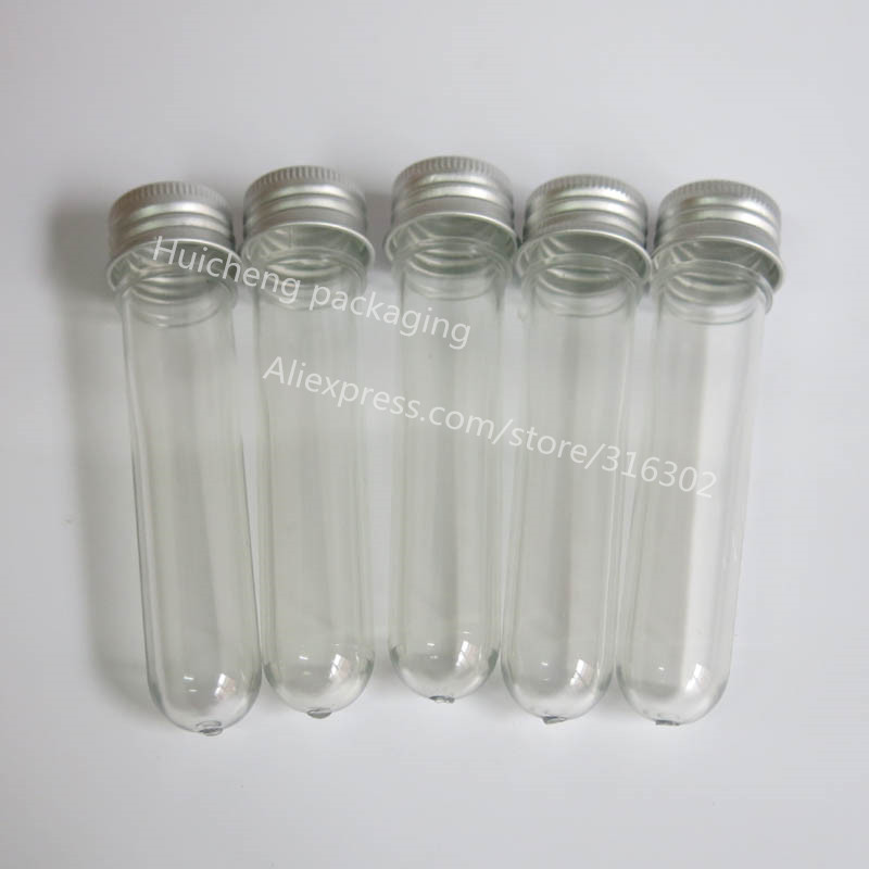 New 50 x 15ml mask bath salt test tube with aluminum cap,15cc clear plastic cosmetic tube, 1/2oz Cosmetic Packaging(China (Mainland))