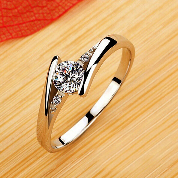 Fashion Sterling Silver CZ Diamond Jewelry Wedding Rings Rose Gold Charm Jewellery For Anillos Women Bijoux Joias Ulove J045(China (Mainland))