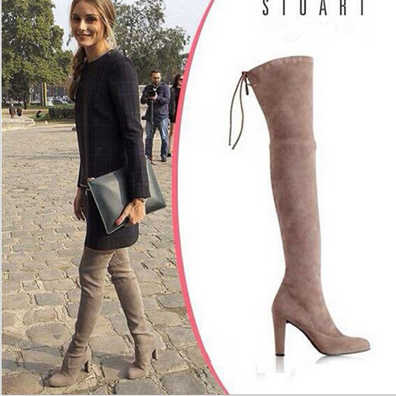 2015 Fashion Suede leather Black gery khaki Women over the knee boots stretch Silm fit high heeled(China (Mainland))