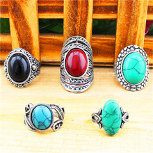 Wholesale Lot 5pcs Vintage Look Retr Craft Tibet Alloy Silver Plated Assorted Design Mixed Color Turquoise Rings R015